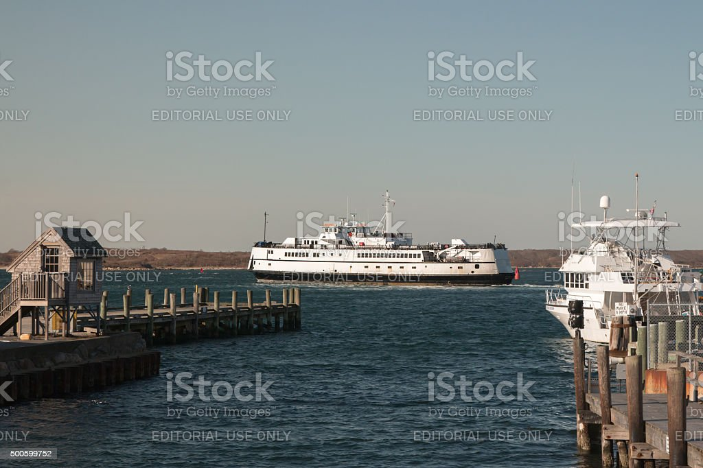 Cape Cod ferry with copy space stock photo