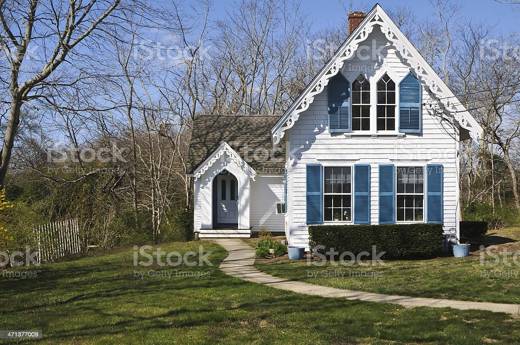 Cape Cod Gingerbread Cottage stock photo