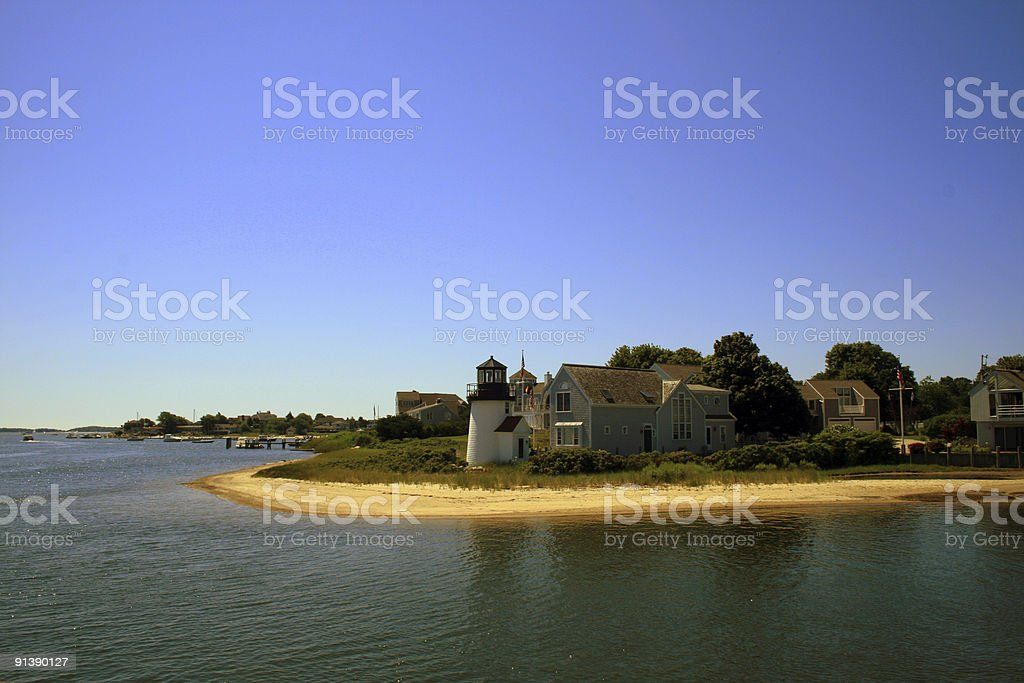 Cape Cod Harbor Lighthouse stock photo