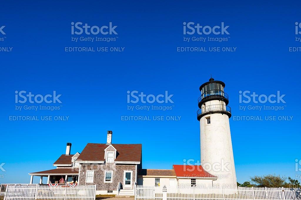 Cape Cod Highland Lighthouse in Massachusettes. stock photo