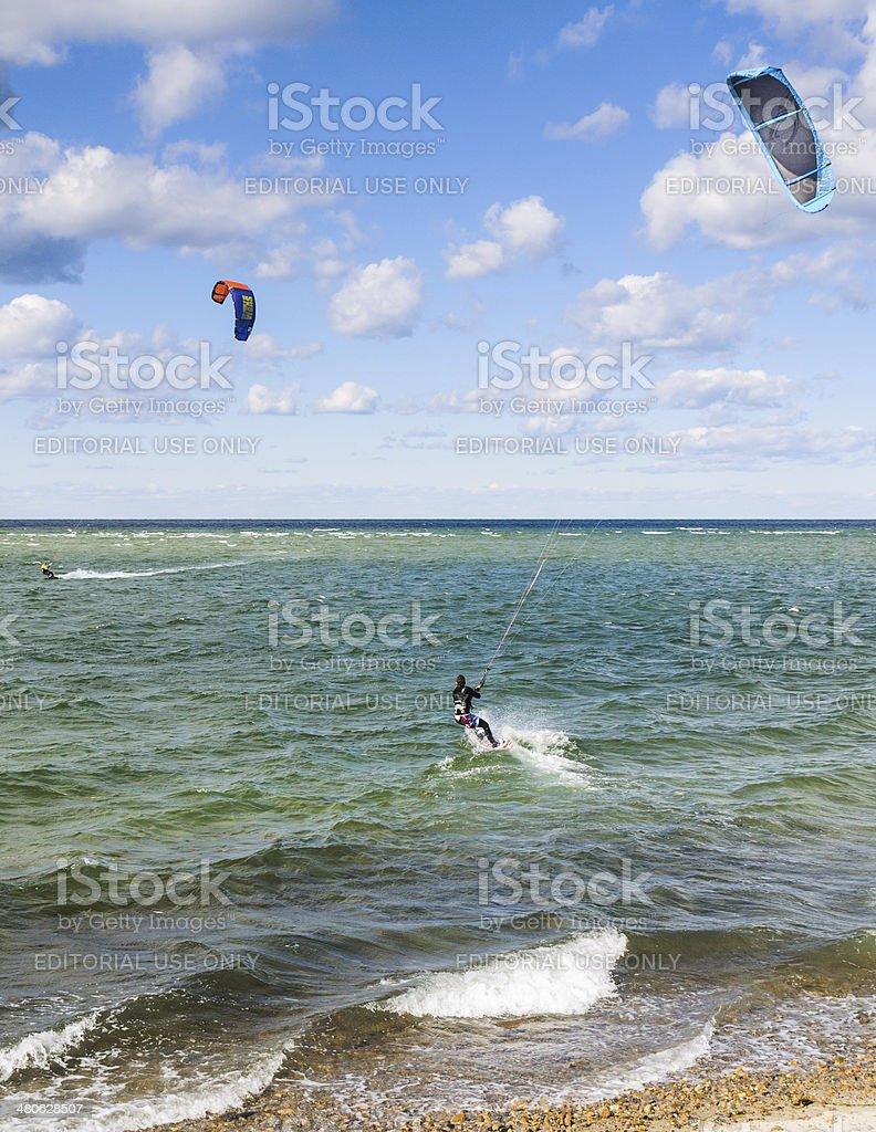 Cape Cod Kite Surfers stock photo