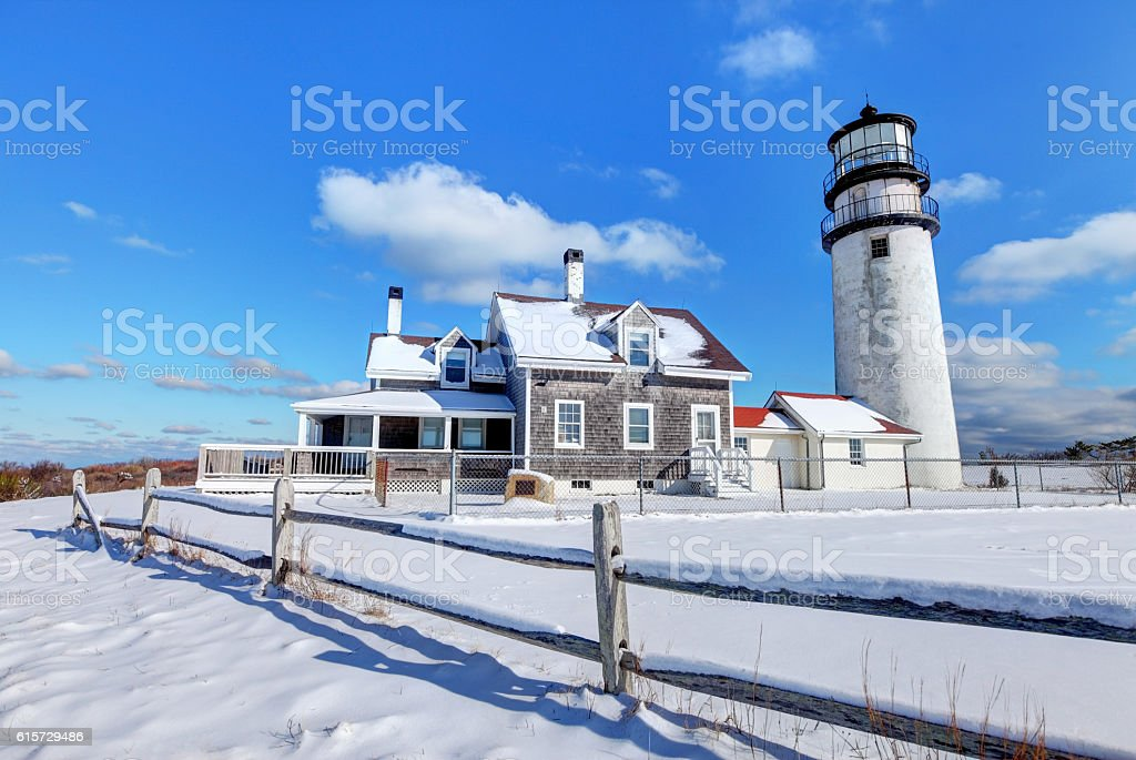 Cape Cod Lighthouse in Winter stock photo