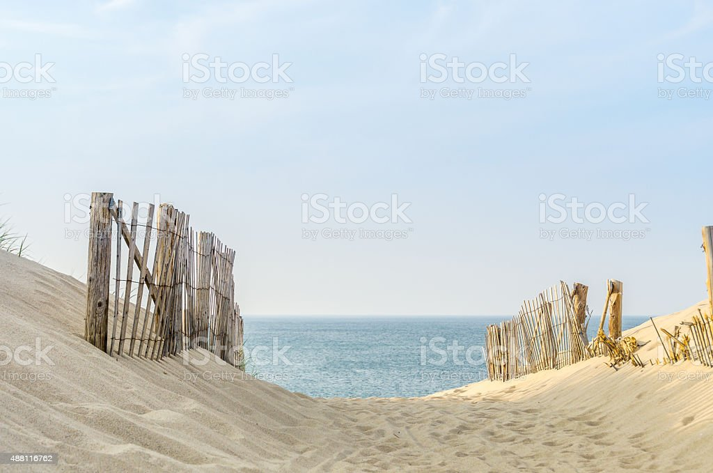 Cape Cod Two Fences stock photo