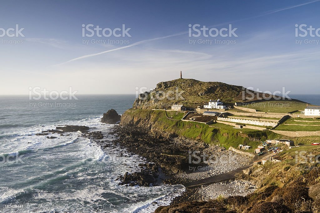 Cape Cornwall on the coast of West Corwnall stock photo