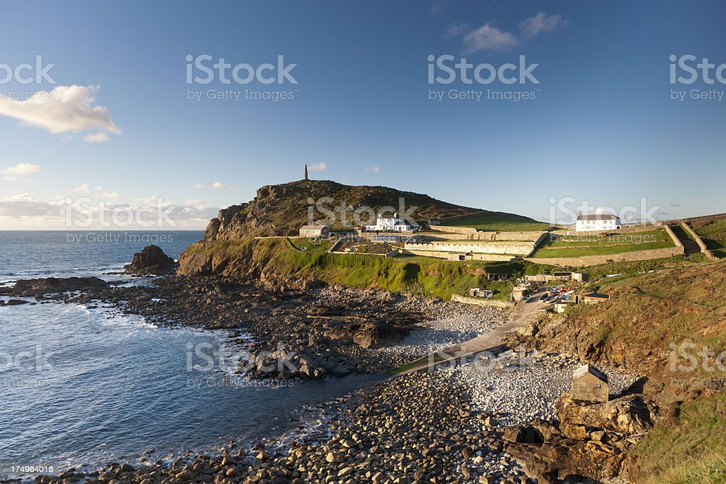 Cape Cornwall taken from the cliffs late afternoon in November royalty-free stock photo