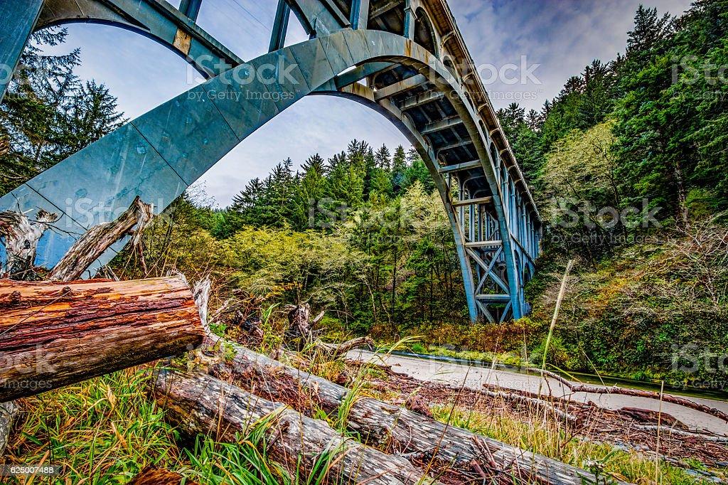 Cape Creek Bridge Heceta Head Lighthouse Oregon Coast  Florence HDR stock photo