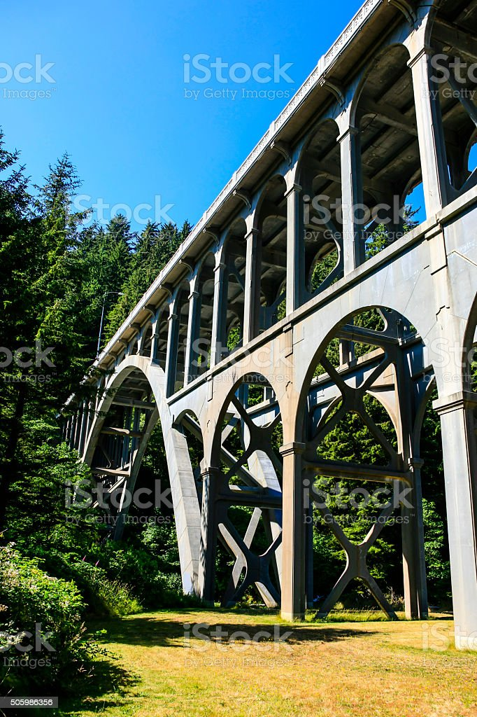 Cape Creek bridge, part of Highway 101 in Oregon stock photo