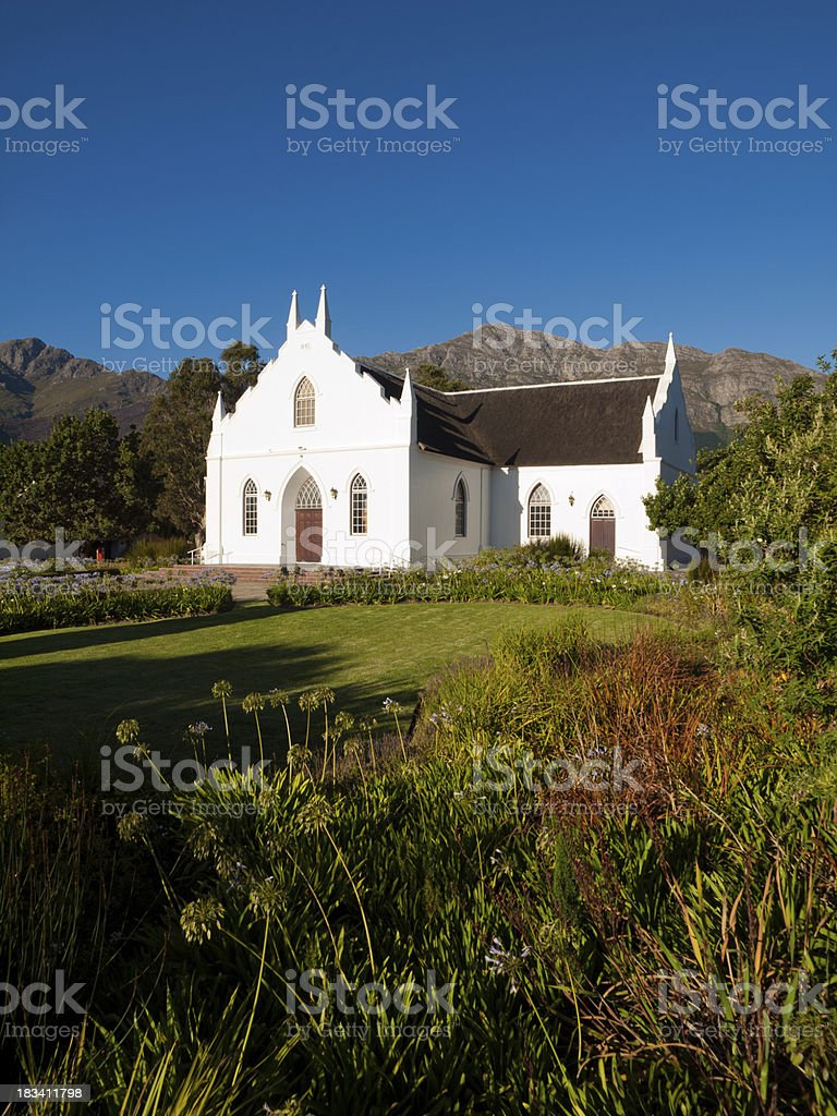 Cape Dutch Architecture, Franschhoek, South Africa stock photo