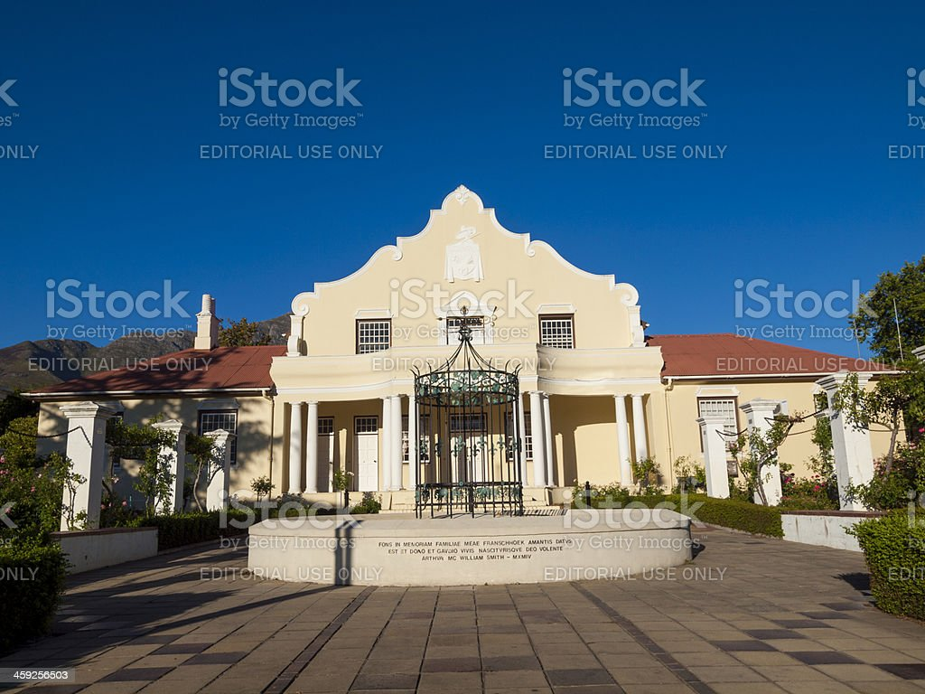 Cape Dutch Architecture, Franschhoek, South Africa royalty-free stock photo