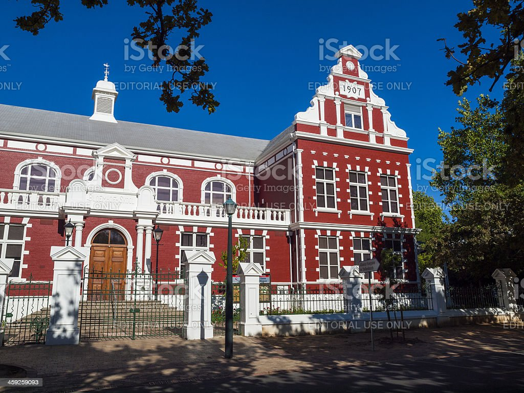 Cape Dutch colonial style building, Stellenbosch, South Africa stock photo