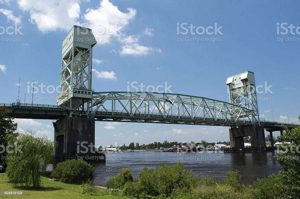 Cape Fear Bridge Wilmington NC stock photo