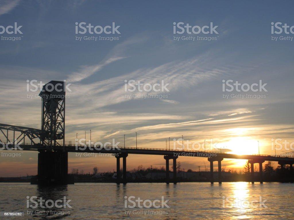 Cape Fear Memorial Bridge, NC stock photo
