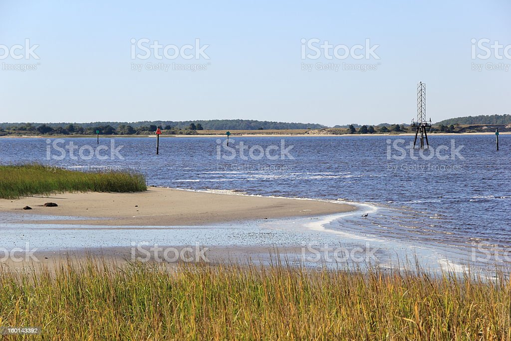 Cape Fear River Channel at Fort Fisher Ferry Port stock photo