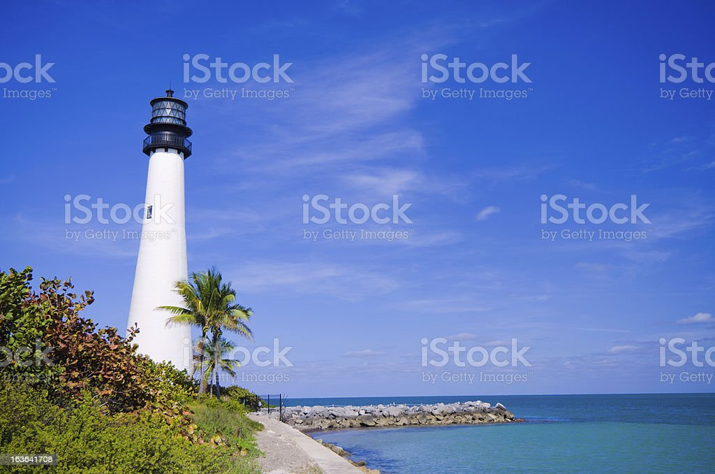 Cape Florida lighthouse at park in key Biscayne Summer stock photo