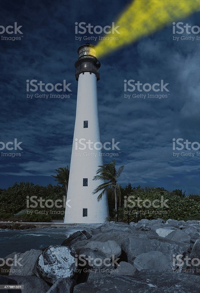 Cape Florida lighthouse in Bill Baggs stock photo