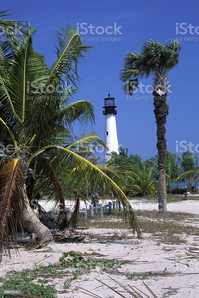 Cape Florida Lighthouse in Key Biscayne royalty-free stock photo