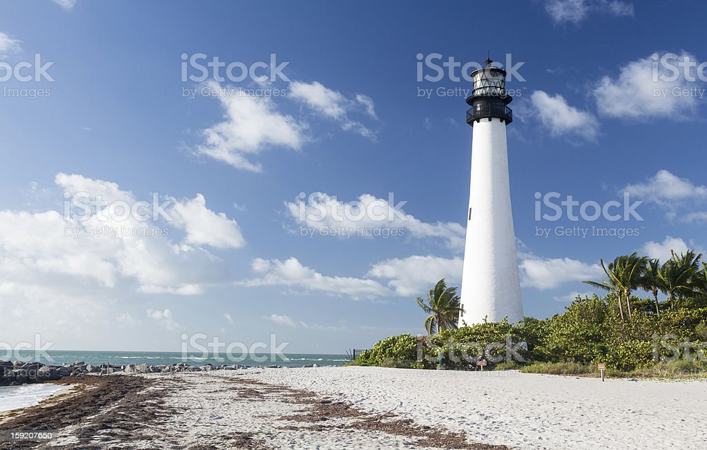Cape Florida lighthouse on a sunny day in Bill Baggs stock photo
