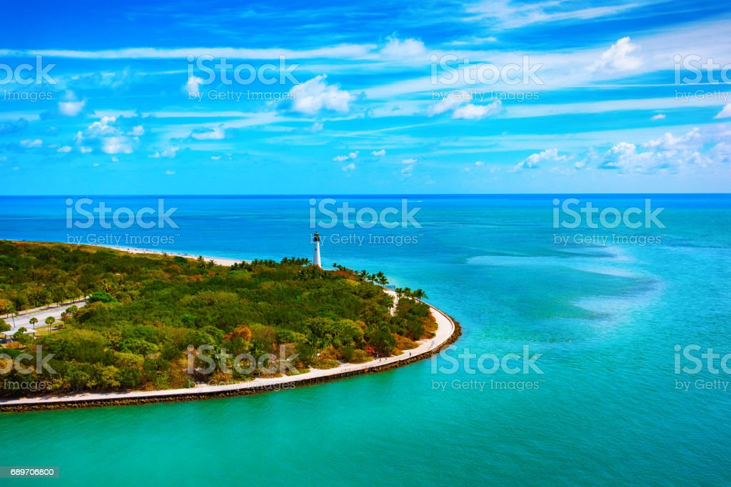 Cape Florida Lighthouse on Key Biscayne stock photo