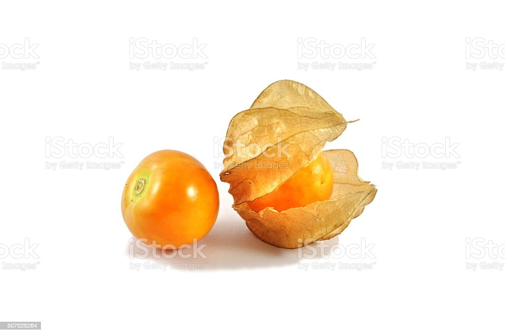 Cape gooseberry on white background. stock photo