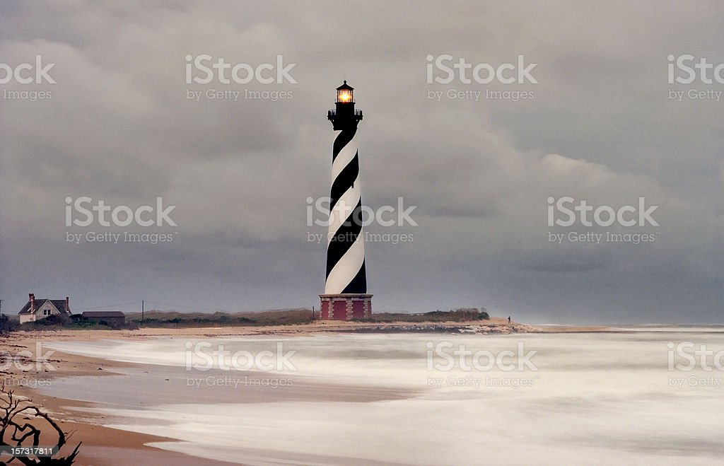 Cape Hatteras Lighthouse in Storm royalty-free stock photo