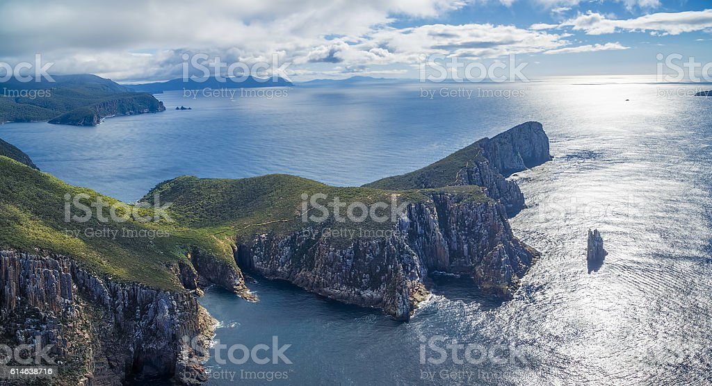 Cape Hauy aerial panorama, Tasmania. stock photo