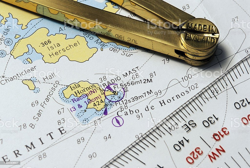 Cabo de Hornos nautical map royalty-free stock photo