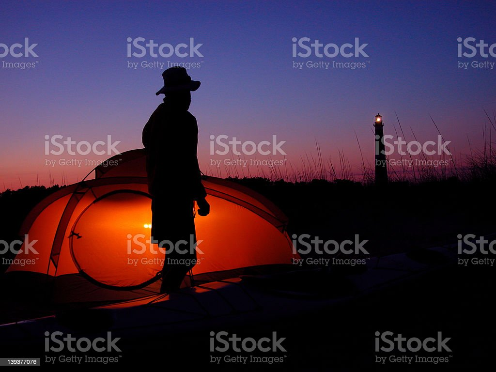Cape Lookout Kayak Camping royalty-free stock photo
