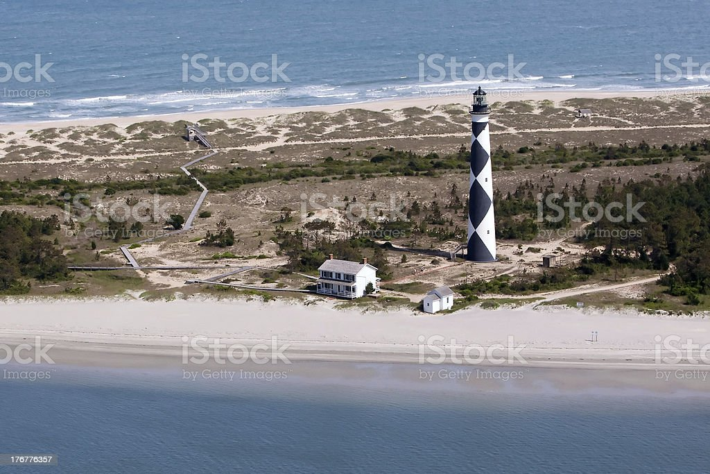 Cape Lookout Lighthouse Aerial stock photo