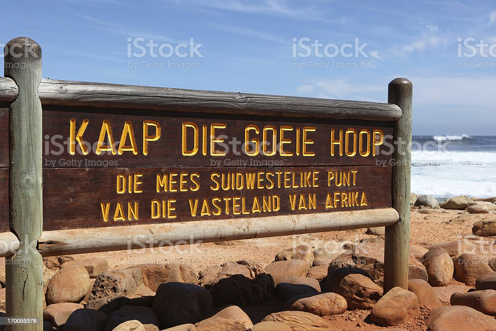 Cape Of Good Hope Sign in Afrikaans South Africa stock photo