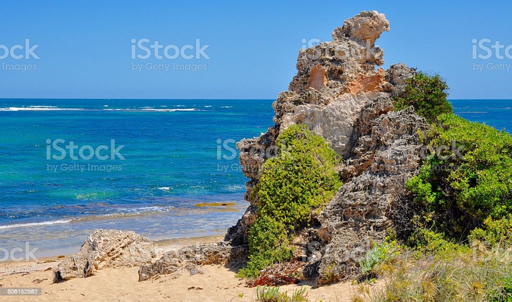 Cape Peron, Australia: Indian Ocean with Limestone stock photo