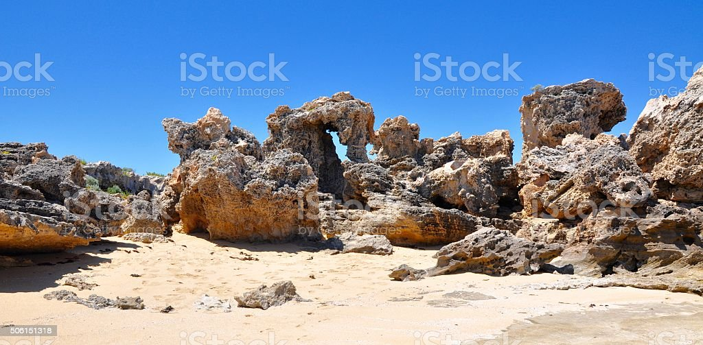 Cape Peron Beach: Limestone Formations stock photo