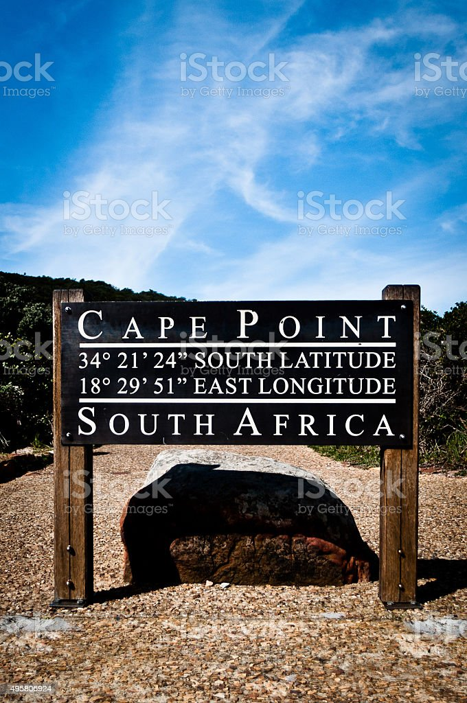 Cape Point Sign in South Africa stock photo