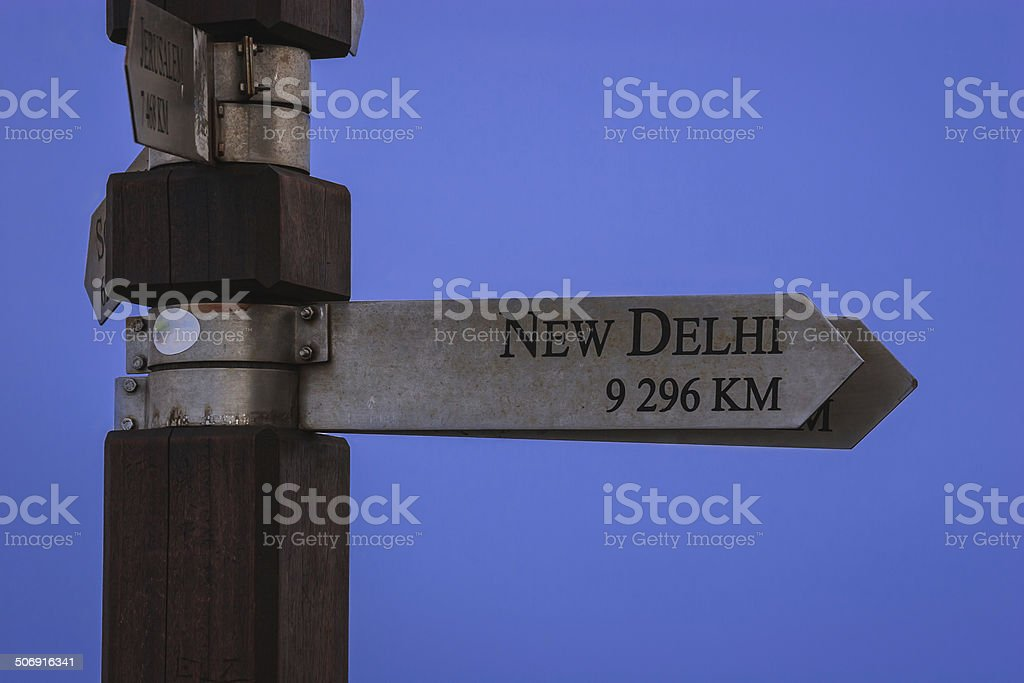Cape Point, South Africa - Sign indicating distance and direction royalty-free stock photo