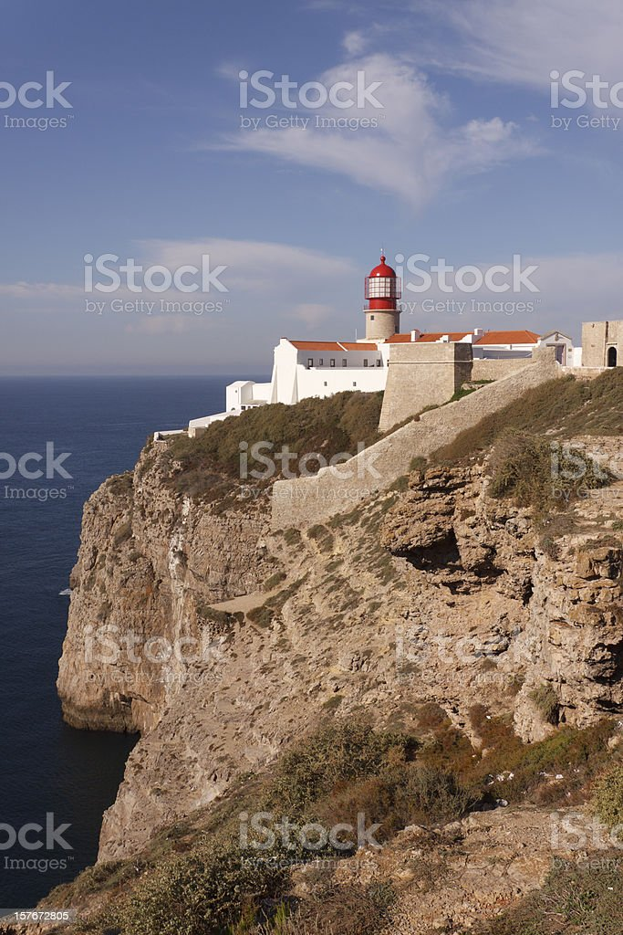 Cape Sao Vincente lighthouse Algarve Portugal stock photo