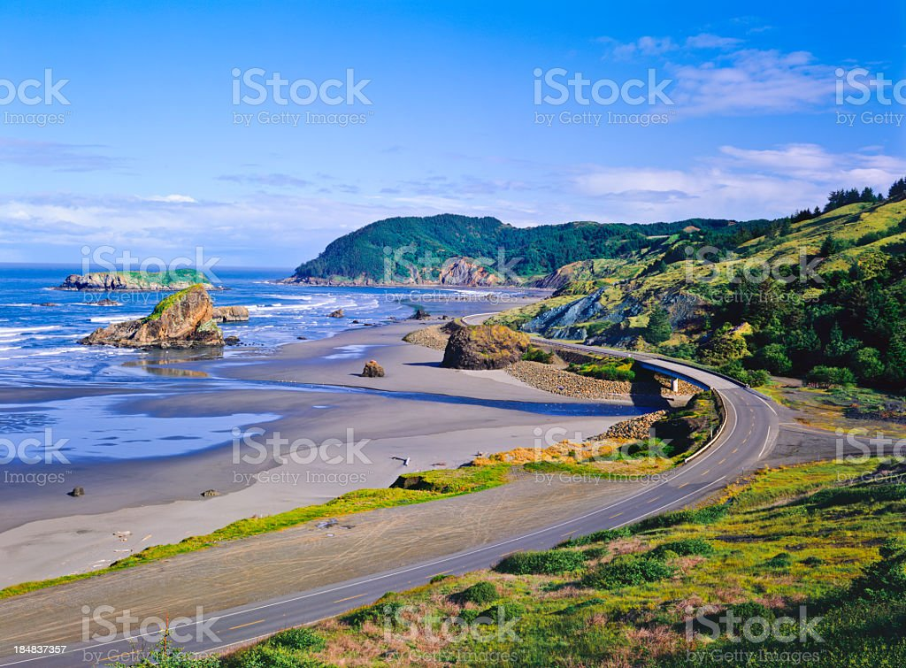 Cape Sebastian state scenic coast with rocks stock photo