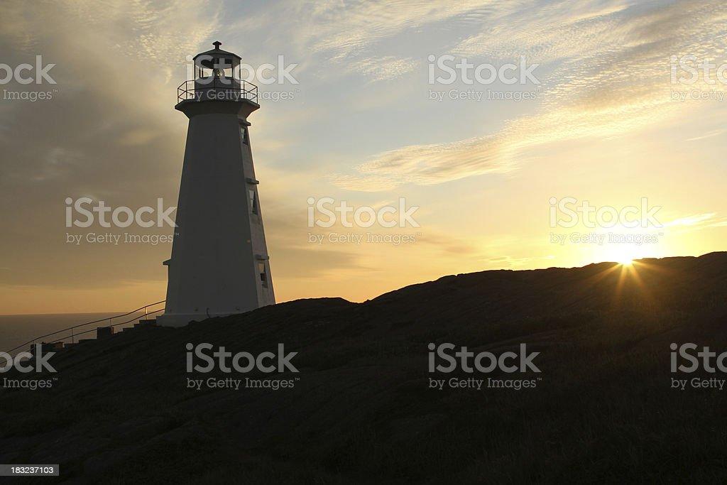 cape spear lighthouse at sunrise stock photo