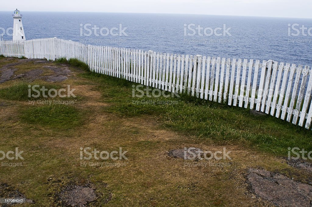 Cape Spear new lighthouse with fence stock photo