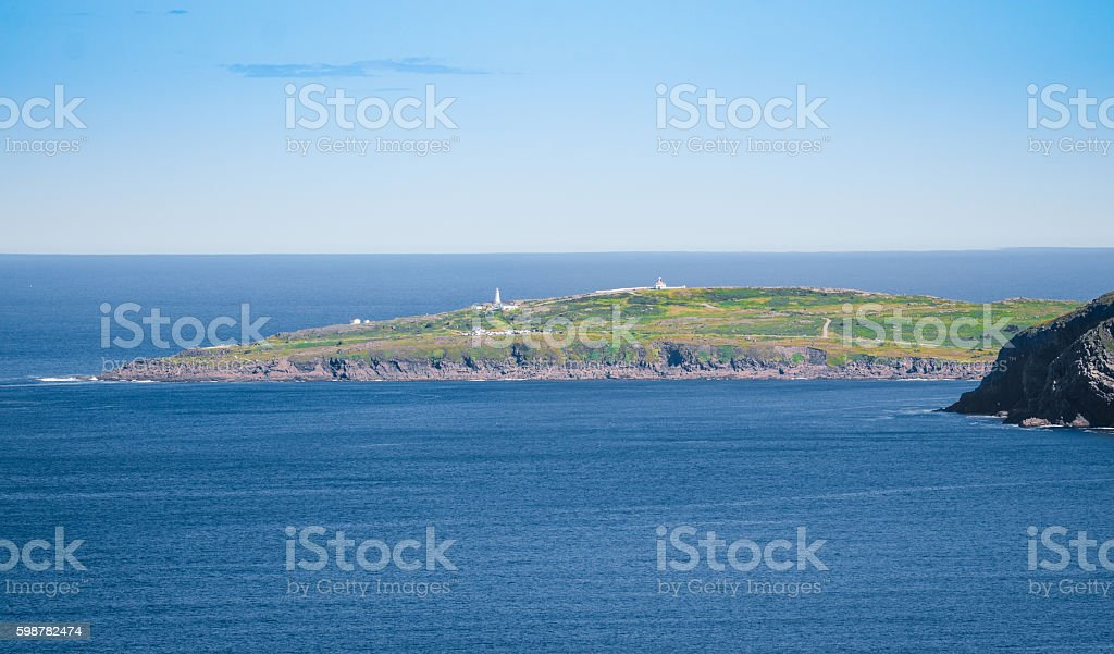 Cape Spear seen from Signal Hill.  Panoramic vista stock photo