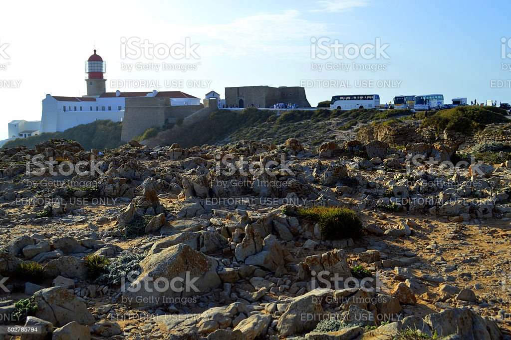 Cape St Vincent Lighthouse in Portugal is a tourist attraction stock photo