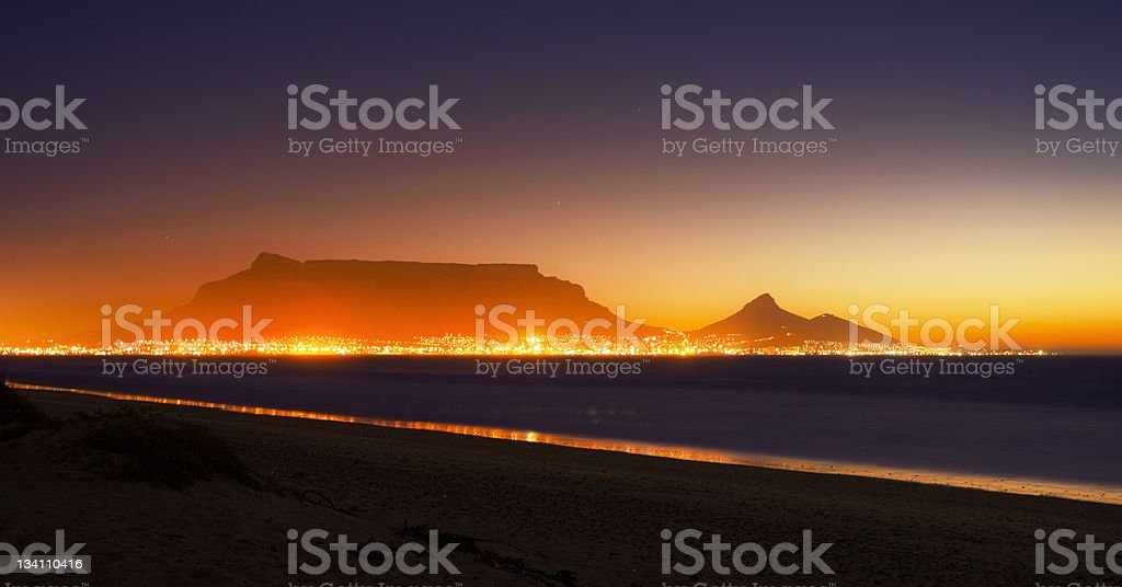Cape Town and Table Mountain by night, ablaze with light stock photo