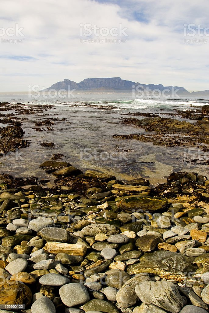cape town and table mountain over the sea stock photo