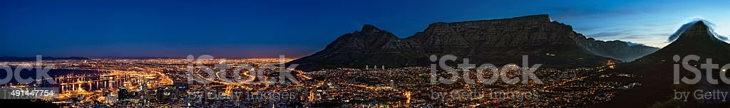 Cape Town and Table Mountain panorama at dusk stock photo