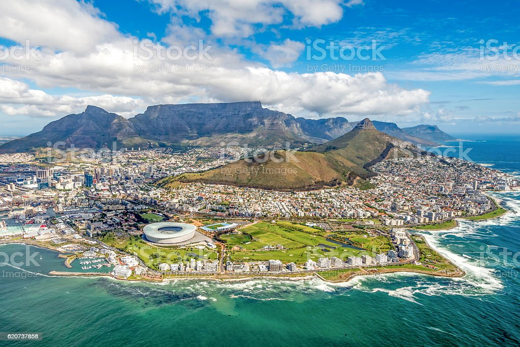 Cape Town and the 12 Apostels from above stock photo