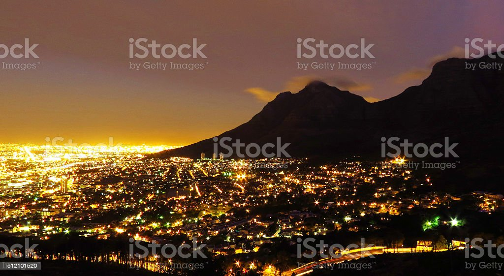 Cape Town at night stock photo