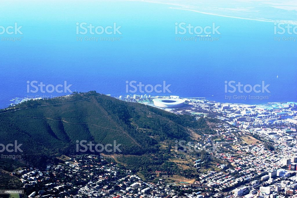 Cape Town, Atlantic, View from Table Mountain, under blue sky stock photo