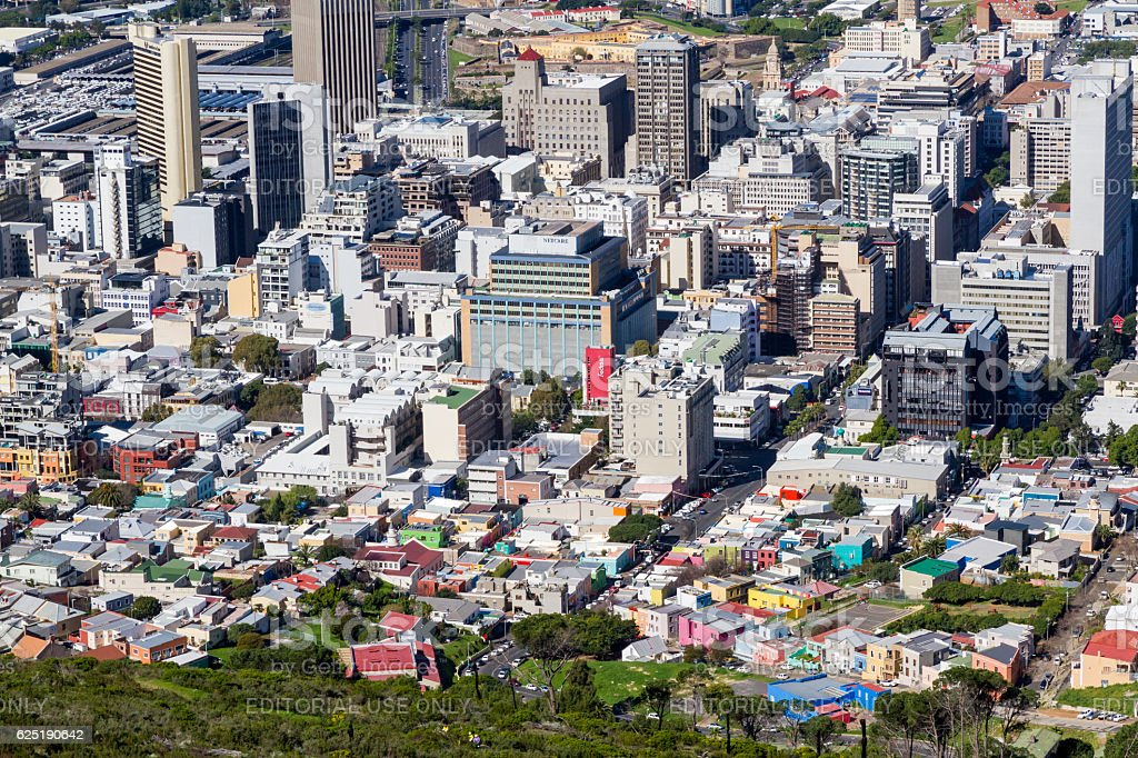 Cape Town Business District & Bo-Kaap Aerial stock photo