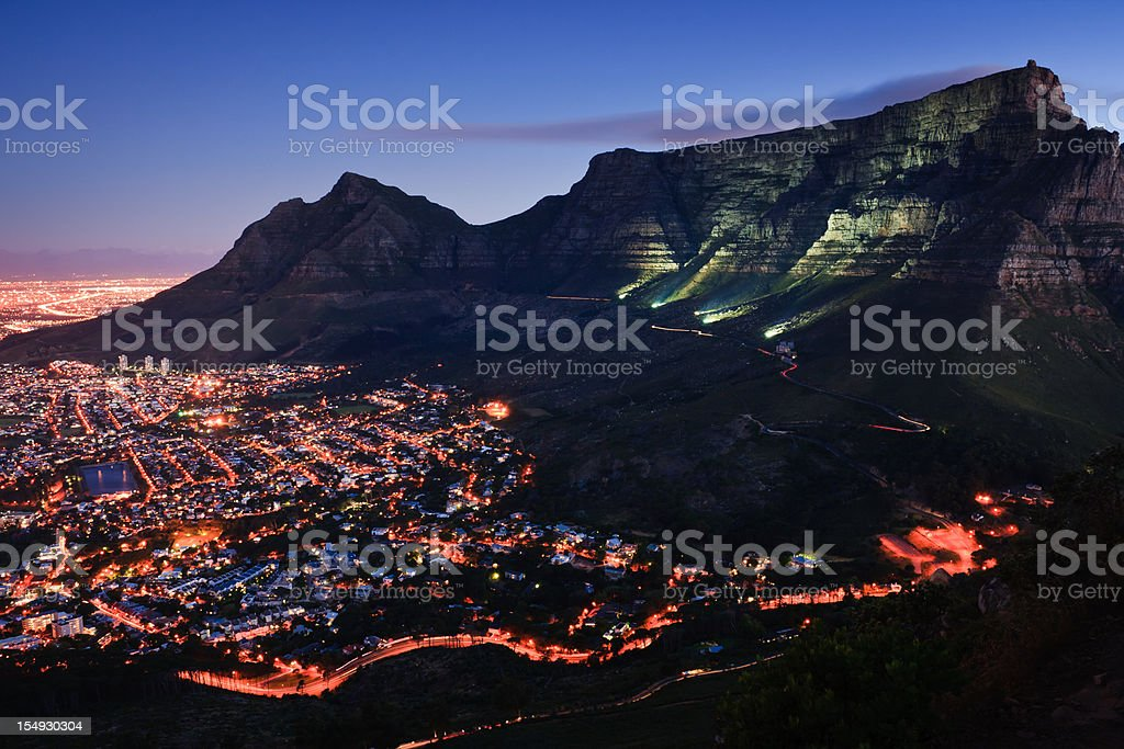 Cape Town By Night royalty-free stock photo