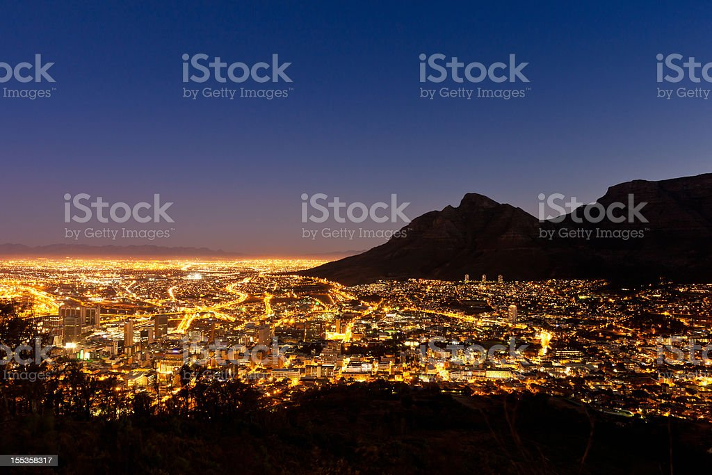 Cape Town By Night South Africa royalty-free stock photo