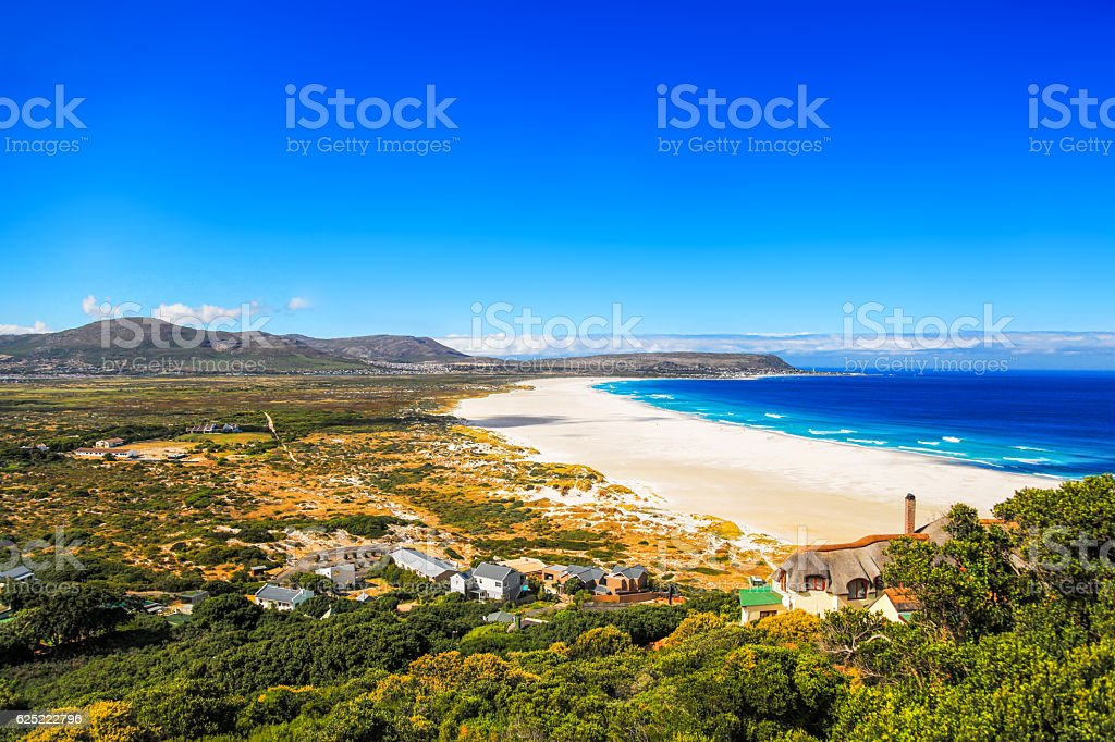 Cape Town Camps Bay empty beach on sunny day stock photo