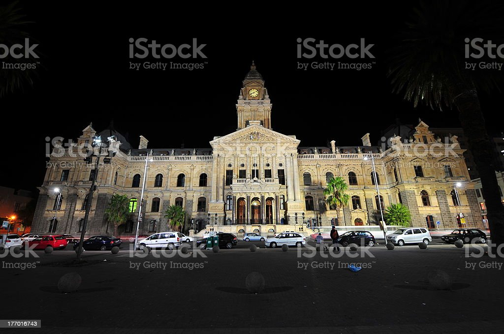 Cape Town City Hall at Night stock photo